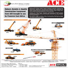 ACTION CONSTRUCTION EQUIPMENT LIMITED (ACE) is India�s leading material handling and construction equipment manufacturing company with over 54% market share in mobile cranes segment.